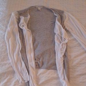 Gray & white cardigan